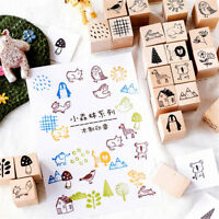 DIY Craft Painting Scrapbooking Wooden Rubber Stamp Forest Series Cards Decor