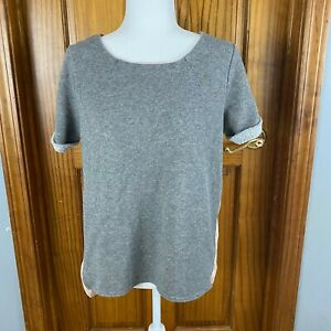 American Eagle Outfitters womens two tone-short sleeve shirt-gray/pink-size Medi