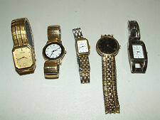 Vintage Lot 5 Elegant Fancy Ladies Watches -Carriage,Pulsar,Seiko,Geneva,Fortron