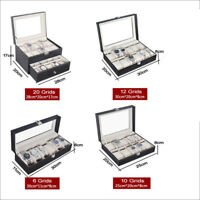 6/10/12/20  Slot Men Watch Box Leather Display Case Organizer Jewelry Storage US