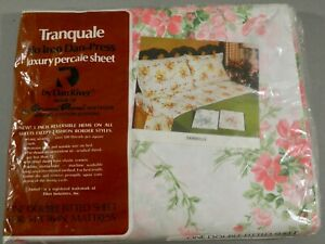 VINTAGE TRANQUALE DAN RIVER FULL DOUBLE FITTED SHEET DAMSELLE PINK FLORAL