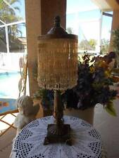 "victorian inspired antiqued TABLE LAMP with GLASS BEAD SHADE 23 3/4"" tall"
