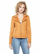 GUESS Jacket Women's Stretch Faux Suede Tailored Zip-Up Jacket S Yellow Gold NWT
