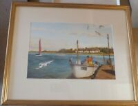 ORIGINAL WATERCOLOUR PAINTING OF A BOAT ON THE RIVER  SIGNED B. TAYLOR