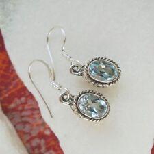Blautopas blau edel Nostalgie elegant Ohrringe Ohrhänger 925 Sterling Silber neu