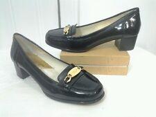 Michael Kors Women's SZ 6 Gold Buckle Black Patent Leather Loafer Heels Shoes