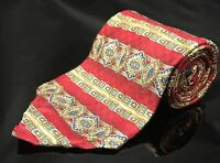 Roundtree & Yorke Red Black Blue Geometric Italy Silk Tie USA XL Extra Long