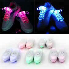 1Pair Colorful  LED ShoeLaces Flash  Light Up Glow Stick Strap Disco Party Charm