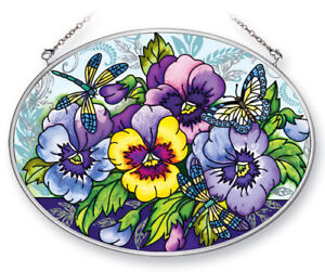 """Blue Pansies Sun Catcher AMIA Hand Painted Glass 7""""x5"""" Oval Dragonfly Butterfly"""