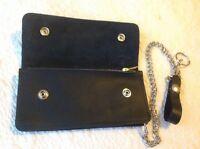USA MADE Real Cowhide - BLACK - Leather Trucker Biker Chain Wallet Inside Zipper