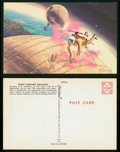 Mayfairstamps Art PC Earth Orbiting Balloons Fetterly Artist Signed Postcard wwp
