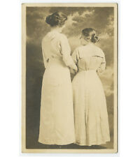 2 LADIES IN LONG DRESSES ARM IN ARM VINTAGE STUDIO PORTRAIT/PHOTO POST CARD