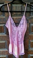 JC Penney Pink Nylon Babydoll Chemise Nightgown Sheer Lace Bodice Small 8 - 10