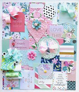 Spring Scrapbook Junk Journal Kit Quotes Paper Fabric Die Cuts, 45 Item Kit #77