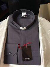 Camicia per Sacerdote Clergy 100 % Cotone Grigio antracite Made in Italy  nuova