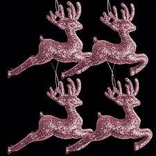 Pack of 4 Pink Glitter Reindeer Christmas Tree Pendant Decorations