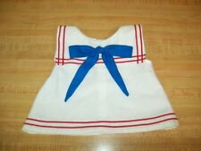 """GIRLS SAILOR SUIT WHITE DRESS RED TRIM+BLUE TIE for 16"""" CPK Cabbage Patch Kids"""
