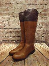 Ladies Clarks Marquette Snow Tan Leather Zip Up Low Heel Long Boots UK 5.5 D