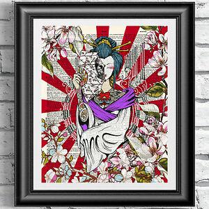 Printed dictionary book page Japanese Tattoo Girl Geisha Art Poster Wall Decor