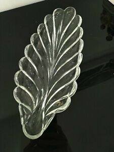 Vintage Serving Platter Large Leaf Shaped Clear Glass