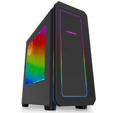 GIOCO Max Vegas RGB Nero Gaming PC Case Ventole ANTERIORE 2x 12 cm 7 LED di colore Fascia