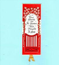 Antique Vintage BOOKMARK Kindness Heart Garden Door Gate Red Roses Flower Gift