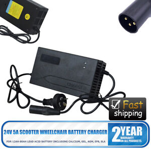 24V 5A Heavy Duty Mobility Scooter Wheelchair Smart Battery Charger Durable AU