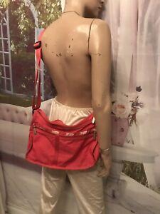 Classic LeSportSac Redish Pink w/ Makeup Bag Nylon Shoulder Bag Purse Cross Body