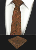 Mens Brown Bronze Floral Tie Silk Set Paisley Pocket Square Napkin Hanky