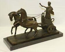 Handcrafted Detailed  Roman Warrior with Chariot Bronze Masterpiece Figurine