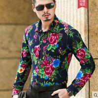 Men Summer Floral Flower Print Shirt Long Sleeve Hawaiian Shirt Dress Shirt Tops