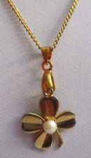 Bijou Vintage pendentif chaîne vintage trèfle porte bonheur perle plaqué or 3068