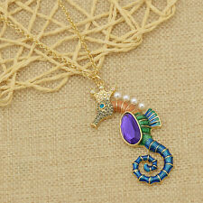 Amethyst Seahorse Necklace Long Sweater Women Fashion Pearl Crystal Cute Jewelry