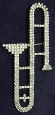 """Bauer Signed LARGE 5 1/2"""" Trombone Musical Instrument Crystal RS Pin Brooch RARE"""