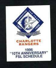 Charlotte Rangers--1996 Pocket Schedule--Perkins Bakery