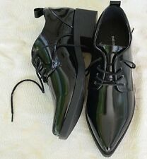 Forever 21 shiny black lace up pointed toe oxfords women size 6.5 M