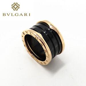 NYJEWEL Bvlgari Bulgari 18K Rose Gold Black Ceramic B.Zero1 Wide 4-Band Ring