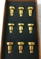 Vintage Nine Piece Gold Tone Hanukkah Menorah Drip Cups Gold Wax Holder Holiday