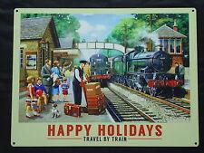 Happy Holdays Large Metal Sign Steam Train -Railways- New Film Prop