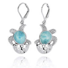 Original Handmade Squid silver Earring With Larimar Stone Shaped Amazing Turtle