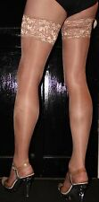 Just Tan 15 Denier LaceTop Satin Sheen Medium Size Hold Up Stockings Hi Quality