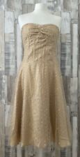 Warehouse Gold Sequinned Sleeveless Fit & Flare Dress Vintage Style Size 12