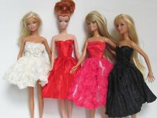barbie doll clothes dresses accessories 4 short dresses 4 hangers 4 shoes 2 New