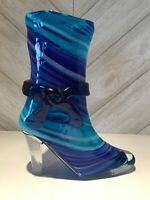 MURANO STYLE BLUE RIBBON BLOWN ART GLASS BOOT VASE COBALT BLUE VASE, A-426