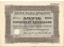 Vintage Germany Sugar Factory in Rastenburg 100 ReichsMarks bond 1924