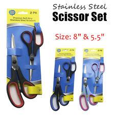 Set of 2 Stainless Steel Scissors Ergonomic Grip Paper Cutter Craft Blade Long