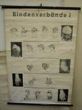 Alte Arzt Lehrtafel Bindenverbände Vintage DEKO Wandkarte Rollkarte antik