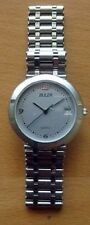 BULER NEW SWISS MADE WATCH - MATT SILVER & SILVER PLATED CASE - LEATHER BAND