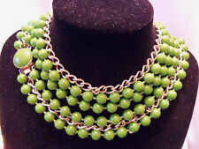 """Vintage Triple-Strand PEA GREEN/Gold Chain 30""""+ Matching Clasp Necklace F2-N03"""
