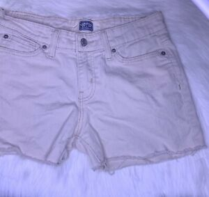 LEVIS Cut Off Shorts Size 8 Khaki Tan DIY Shorts Stretch Mid Rise Signature Levi